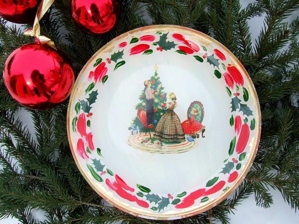 Новогодняя тарелка в стиле ретро