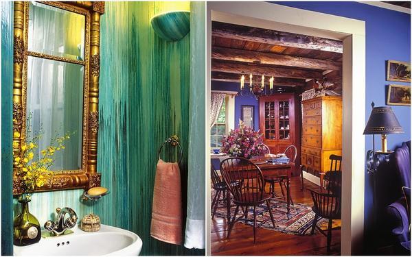 Слева: Водоэмульсионные краски — идеальный вариант для внутренних работ: окраски потолков, стен, в том числе в «мокрой зоне» — кухне, ванной и туалете. Справа: Яркие, насыщенные тона стен в сочетании с деревянной мебелью — отличное решение для загородного дома.