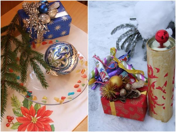 Коробочка для подарка с новогодним букетом