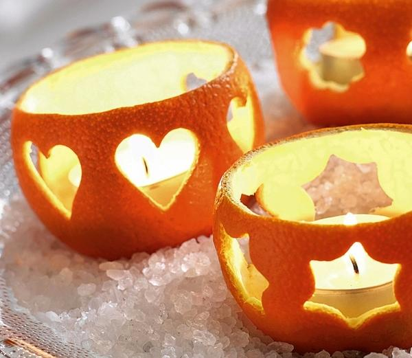 Подсвечники из кожуры апельсина
