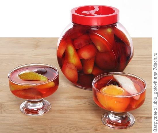 Компот из груш, персиков и слив