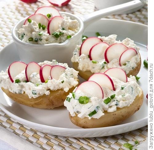 Картофель с редисом и творогом