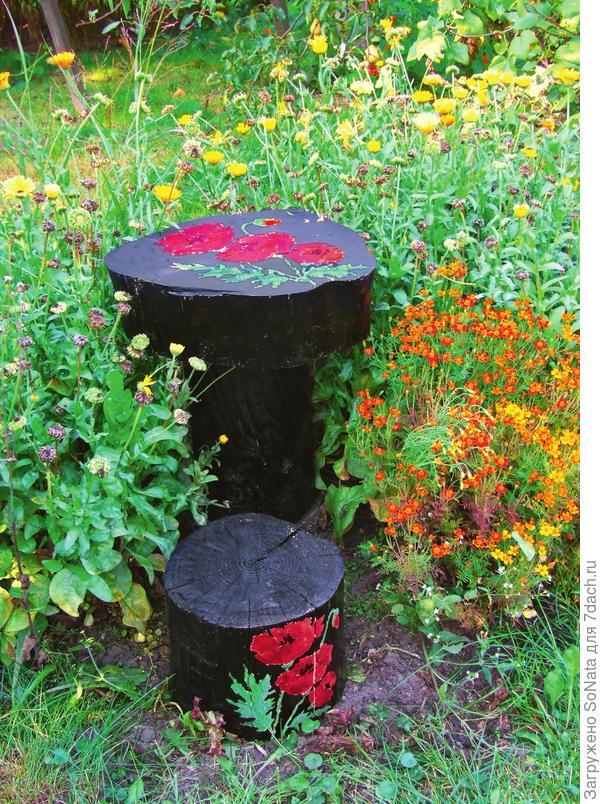 Садовая мебель из пней
