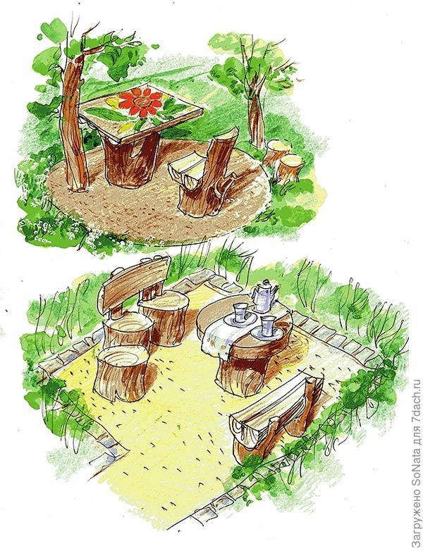 Комплект оригинальной садовой мебели обойдется вам практически даром, если для ее изготовления вы используете обычные пни.