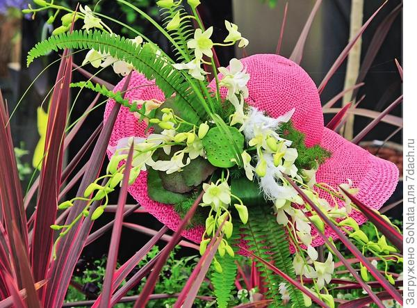 Романтичная и яркая шляпка может превратиться в оригинальный садовый аксессуар, если подобрать ей достойное обрамление.