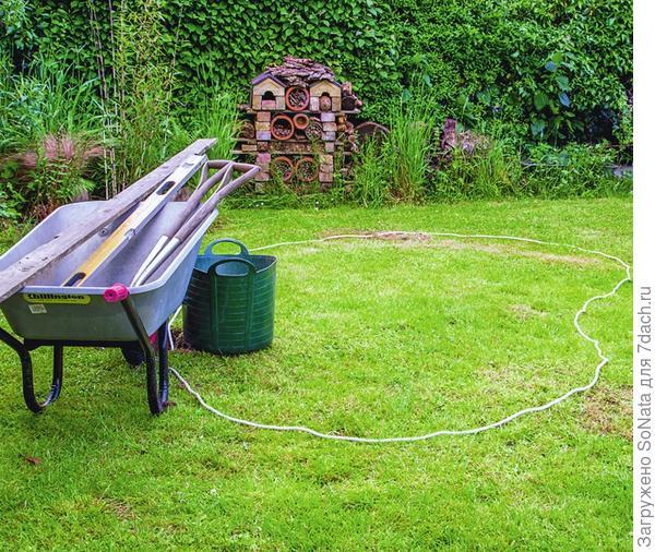 Разложите на земле ленту яркого цвета или садовый шланг, наметив тем самым контуры будущего водоема.