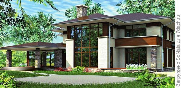 Монолитный бетонный дом, облицованный кирпичом, выглядит надежным и красивым.