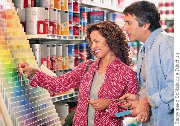 Помните, что оттенок краски смотрится по-разному при естественном и искусственном освещении.