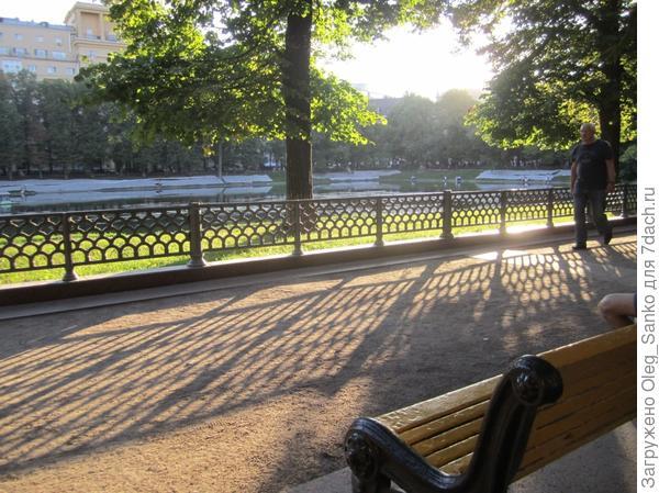 А вот и закатное солнце, освещающее аллею парка