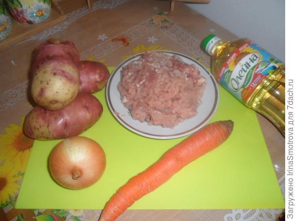 Ингредиенты: куриное мясо 200 гр масло «Олейна»  картошка 1 кг  лук 2 штуки средние морковь 1 средняя томатная паста  1 ст.ложка