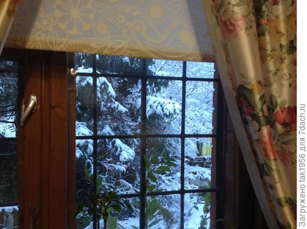 А это через окно дома