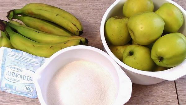 Яблоки и бананы - отличное сочетание для варенья
