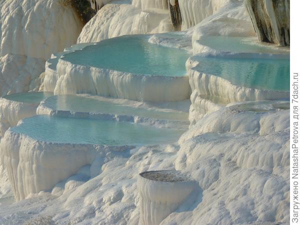 Водоёмы-терассы геотермальных источников из травертина в Памуккале , Турция