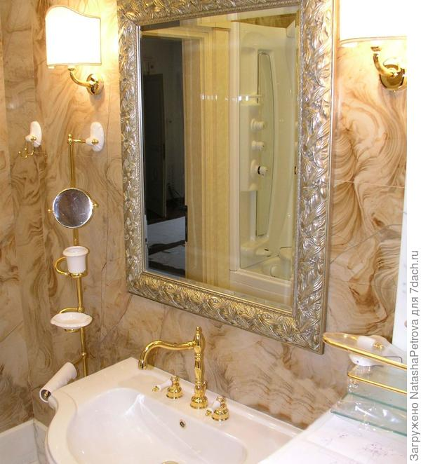 Облицовка стен ванной комнаты Onyx Arco Iris. Из архива камнеобрабатывающей компании Петрополь