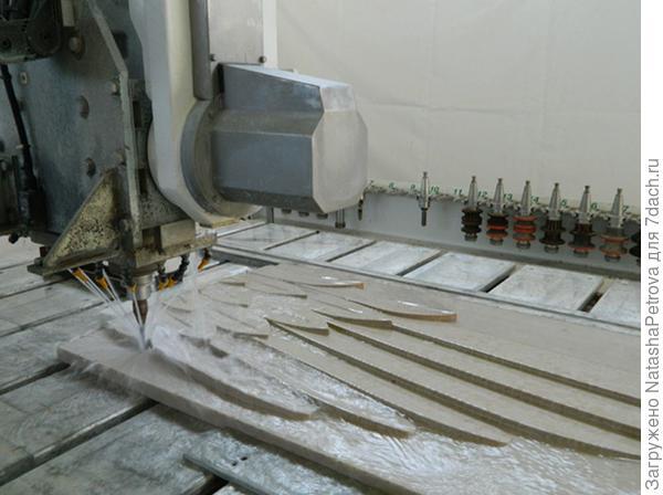 Изготовление резной детали из мрамора на станке Water Jet. Фото с сайта http://nensy.ru