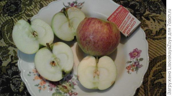 это яблоко крупное, имеет рыхлую и сладко-кислую мякоть.