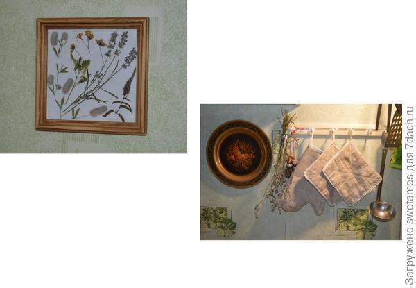На стене - гербарий из тех растений, которые мы собирали во время похода на Оку и сшитые из той же льняной ткани прихватки. Лаванда собрана во дворе в этом году. С ней пьется изумительный чай.