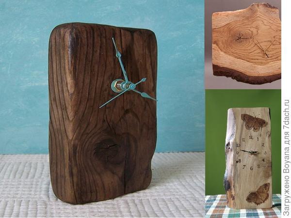 Часы из полена. Фото с сайтаhttps://ru.pinterest.com/