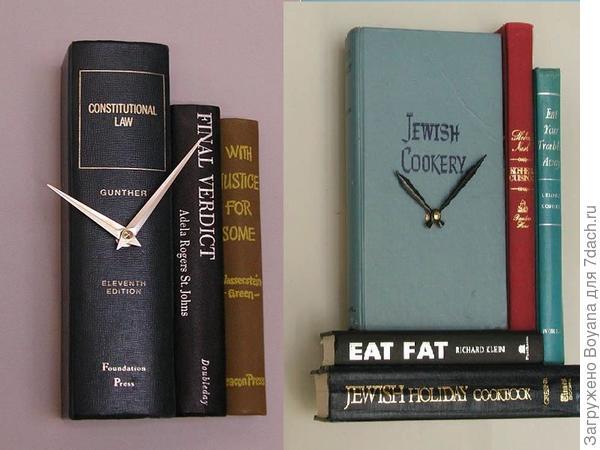 Часы из книг. Фото с сайта https://ru.pinterest.com/
