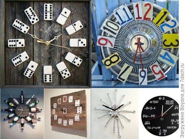 Часы из разного материала. Фото с сайта /https://ru.pinterest.com/