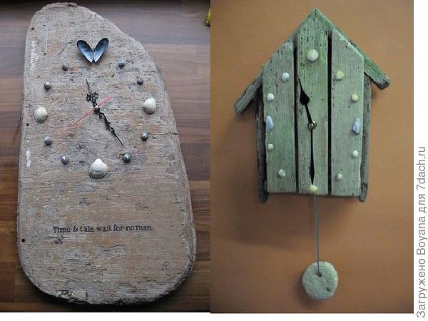 Часы из досочек, ракушек и камешков. Фото с сайта https://ru.pinterest.com/