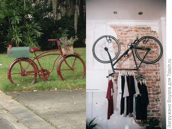 Велосипед - клумба, почтовый ящик и вешалка для одежды. Фото с сайта ru.pinterest.com