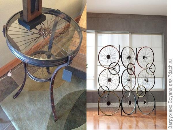 Журнальный столик и ширма из велосипедных колес. Фото с сайта ru.pinterest.com