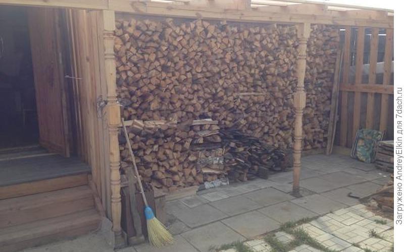 Место для хранения дров на даче.