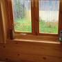В предбаннике на окно установил рулонные шторы.