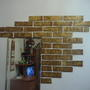 Как я делала кирпичики на стену из подручного материала