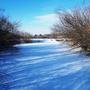 Вечернее зимнее солнце оставляет на снегу синие тени.