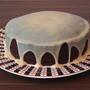 Очень шоколадный пирог в мультиварке.  Украшение - ганаш из белого шоколада