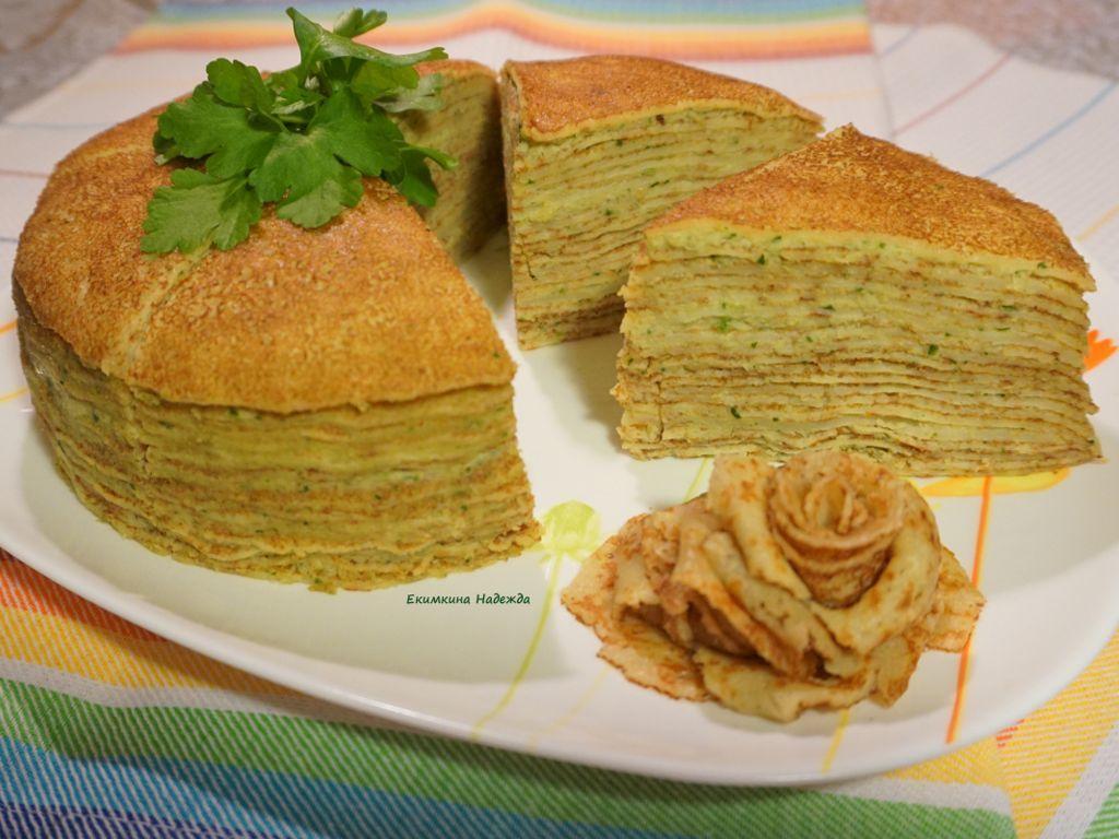 Блинный пирог с грибами и сыром рецепт с