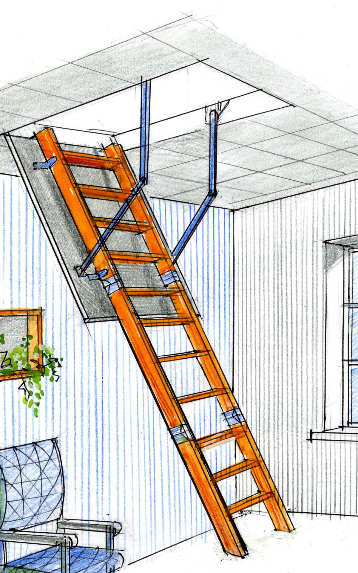 Как сделать лестницу для работы на крыше своими руками 9