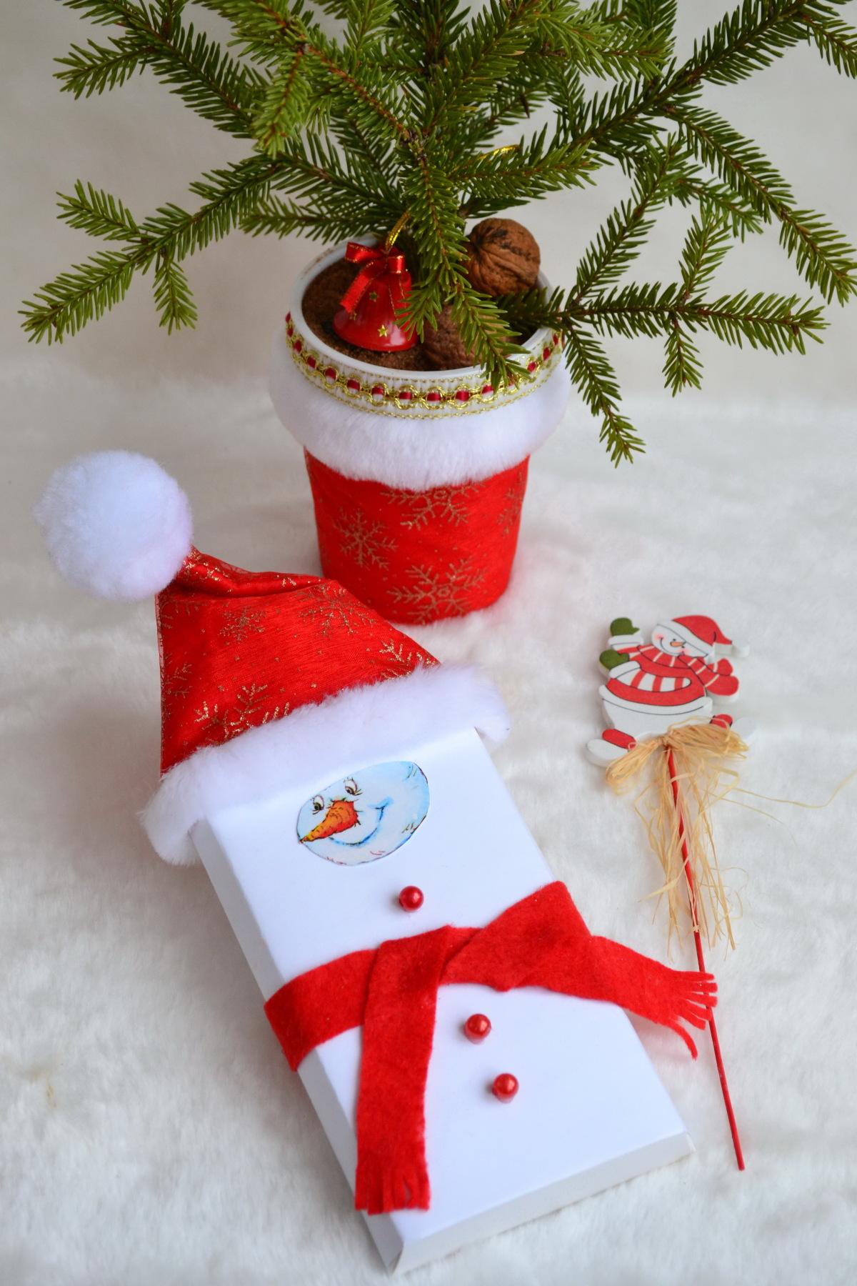 Новогодняя поделка шоколадка снеговик своими руками