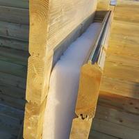 Проект мини домика из двойного шпунта: 6х4.8м с крыльцом и сенями