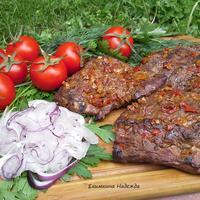 """Свиная шея под овощами, приготовленная в маринаде с Болгарским кетчупом """"Махеевъ"""""""
