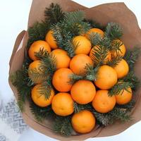 Делаем новогодний букет. Очень простой и со вкусом мандаринов
