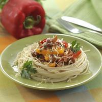 Спагетти с лесными грибами и сладким перцем