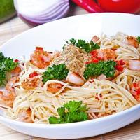 "Мастер-класс ""Спагетти с креветками и с соусом из авокадо"""