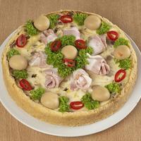 Нежнейший заливной пирог с грибами и беконом