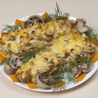 """Сочная рыбка под """"шубой"""" из грибов. Простой рецепт"""