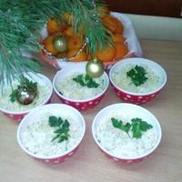 Салат порционный с курицей и грибами к Новогоднему столу