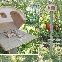 Кормушка для птиц на дачном участке.