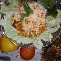 Салат с хурмой и мандаринами
