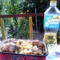 Картошка с курицей под майонезом и соевым соусом