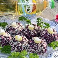 Холодная закуска  - шарики из свеклы с грибами