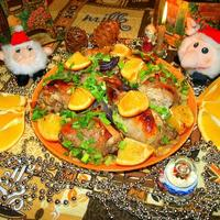 Праздничная курица с апельсинами
