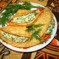 Блинчики с сырно-чесночной начинкой