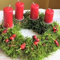 Новогодний венок из природных материалов: используем мох и яркие сушёные плоды